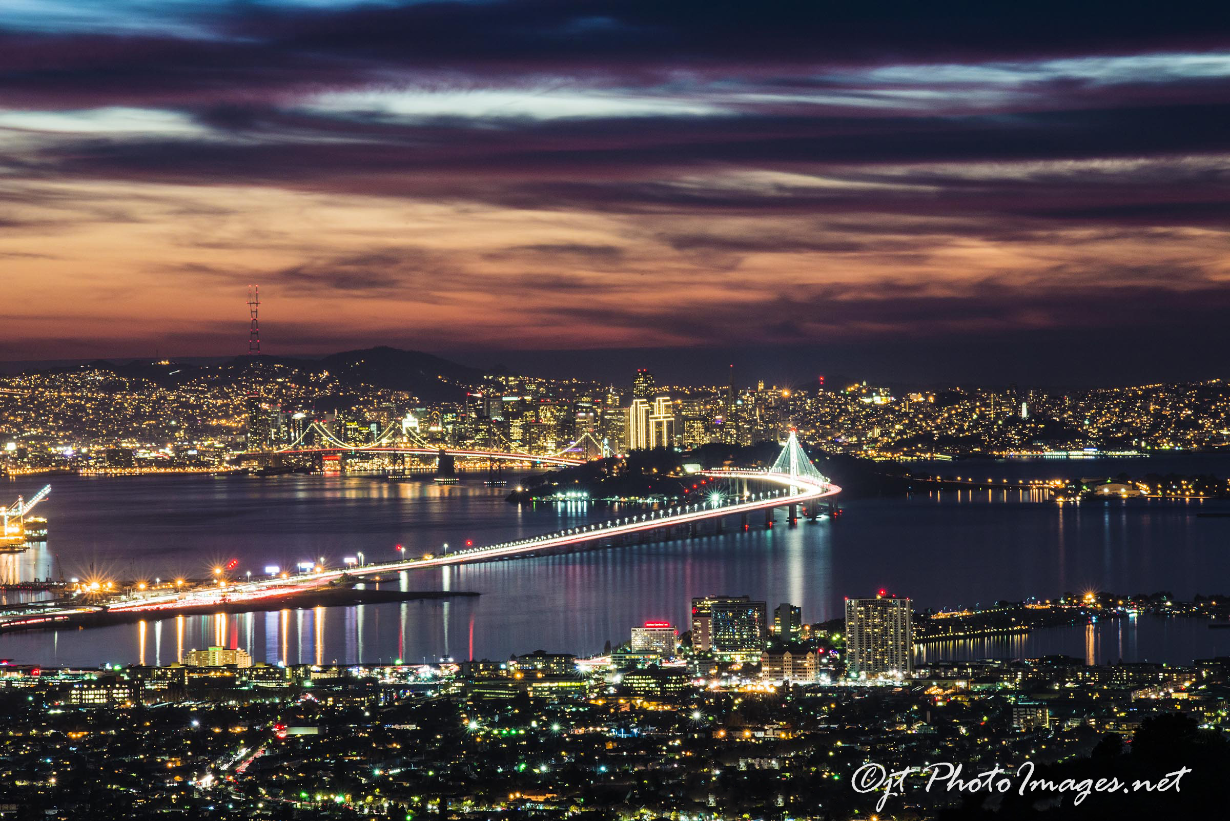 Bay Bridge Awesome Sunset from Grizzly Peak Blvd.