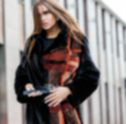 DICARA, checkered coat, fur fashion, greek fur