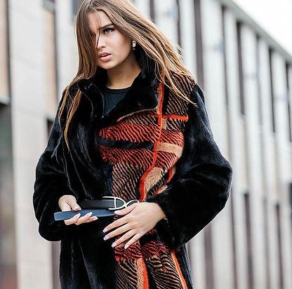DICARA, checkered coat, fur fashion, greek fur