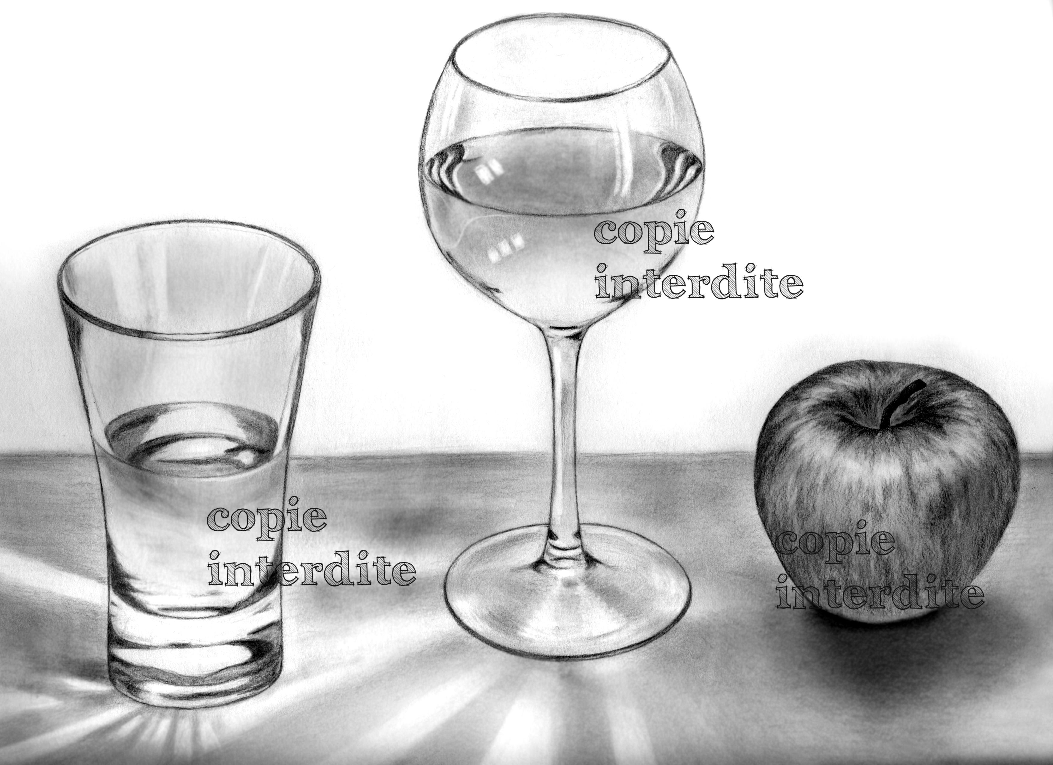 Verres et pomme