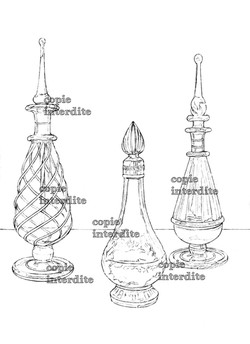 3 flacons style ancien