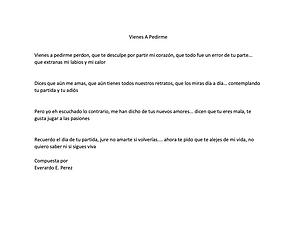 Vienes A Pedirme - Everardo E. Perez