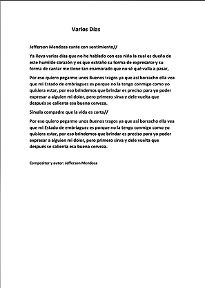 Varios Días - Jefferson Mendoza