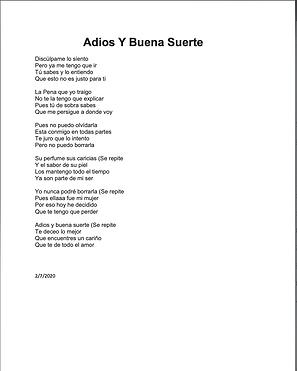 Adios y Buena Suerte - Cesar Reynaga