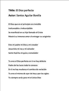 El Dios Perfecto - Santos Aguilar Bonilla