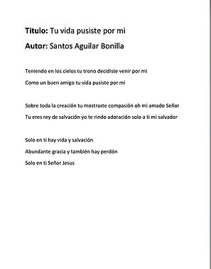 Tu Vida Pusiste Por Mi - Santos Aguilar Bonilla