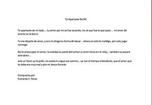 Te Apartaste De Mi - Everardo E. Perez