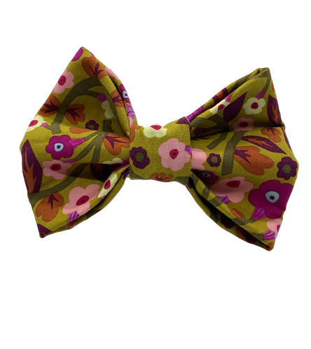 Olive Floral Print Bow