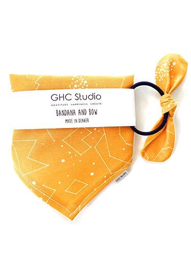 Yellow Star Constellations Bandana and Matching Hair Tie