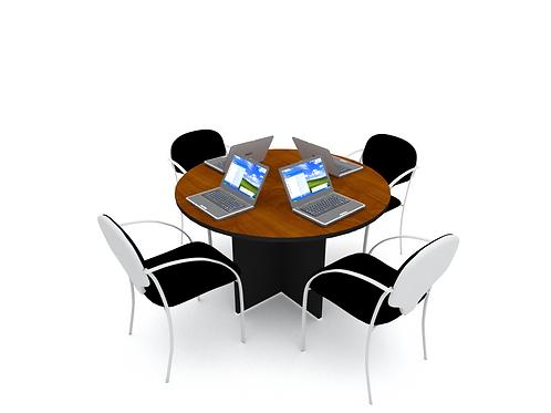 Mesa circular de reuniones para 4