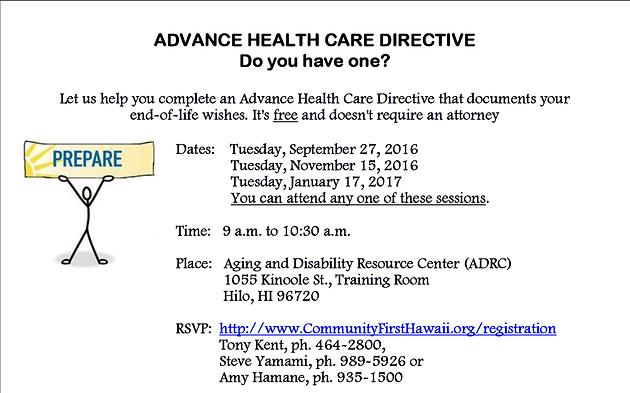 Public Advance Health Care Directive Classes - Now Open