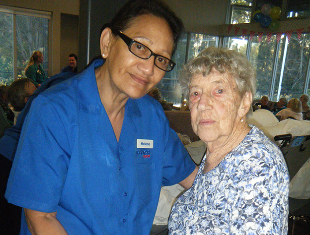 Helena Sulfac & Resident Eunice Campbell