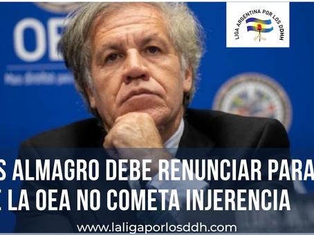 Luis Almagro debe renunciar para que la OEA no cometa injerencia política como en Bolivia