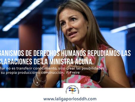 Organismos de derechos humanos repudiamos las declaraciones de la ministra Acuña