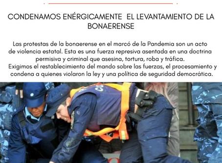 Condenamos enérgicamente el levantamiento  de la  Bonaerense