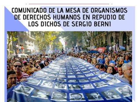 LOS ORGANISMOS DE DDHH REPUDIMOS LOS DICHOS DE BERNI
