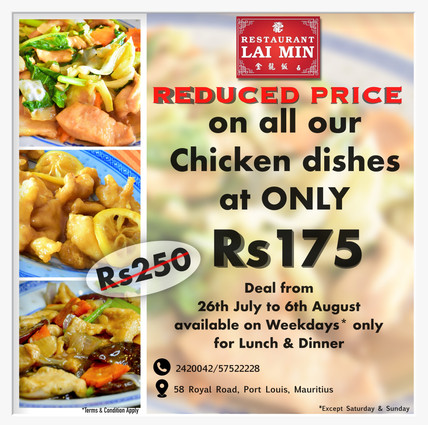 Reduced price on Chicken dishes
