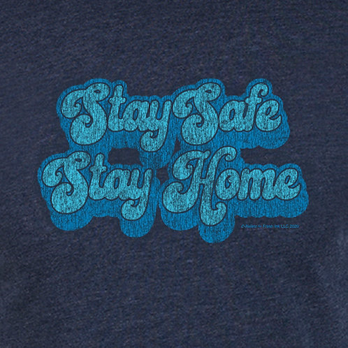 Stay Safe Stay Home Retro Blue
