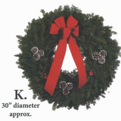 Wreath K - 30 in. wreath with red bow, white-tipped pine cones & holly berries