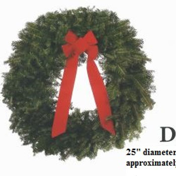 Wreath D - 25 in. wreath with red bow