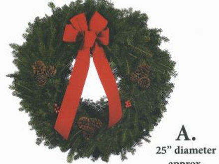 Wreath A -25 in. wreath with red bow, pine cones & holly berries