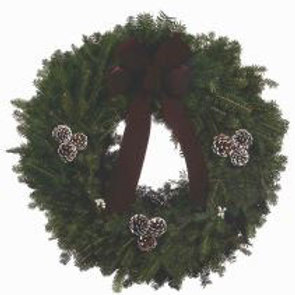 Wreath L - 25 in. wreath with burgundy bow, white-tipped pine cones, berries