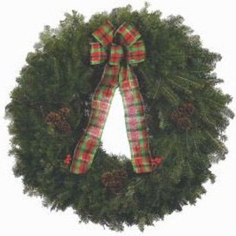 Wreath E - 25 in. wreath with plaid bow, pinecones & holly berries