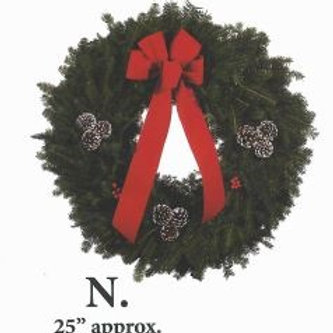 Wreath N - 25 in. wreath with red bow, white-tipped pine cones & holly berries