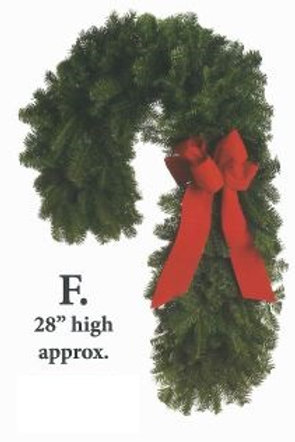 Wreath F - 28 in. high candy cane with red bow