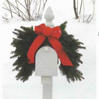 Wreath M - Mailbox swag with red bow & rubber band