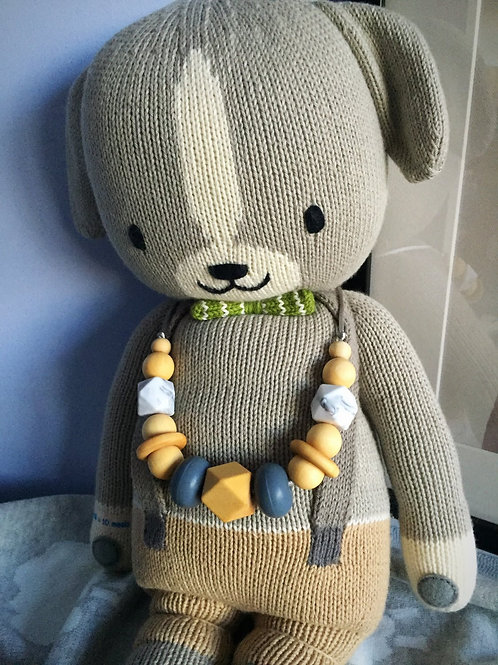 Grey Wooden Teething Necklace