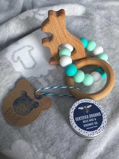 Mint Green Kangaroo Teether Ring and Balm Combo