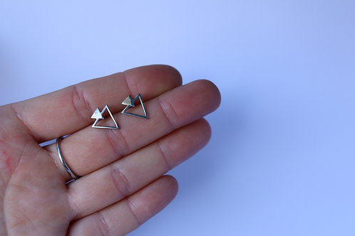 Sterling Silver Double Tri Stud