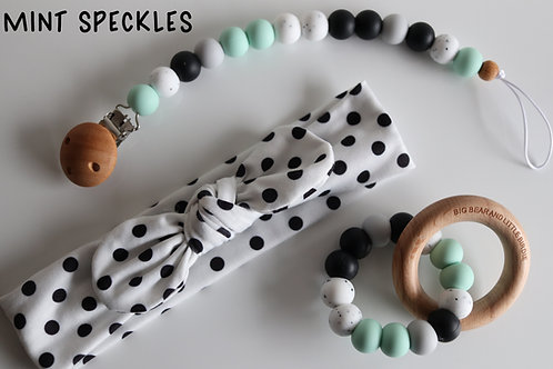 Mint Speckles Baby Gift Set
