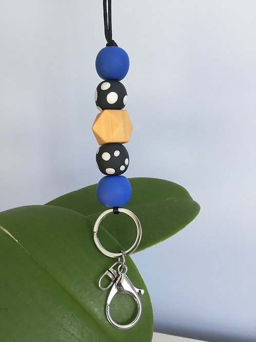 Blue and Black Speckled Lanyard