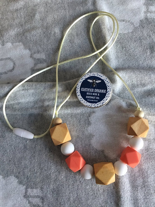 Peach Teething Necklacand Balm Combo