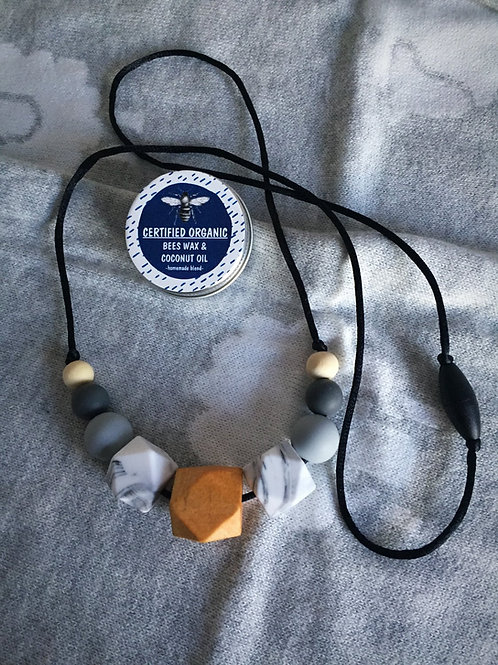 Grey Marble Teething Necklace and Balm Combo