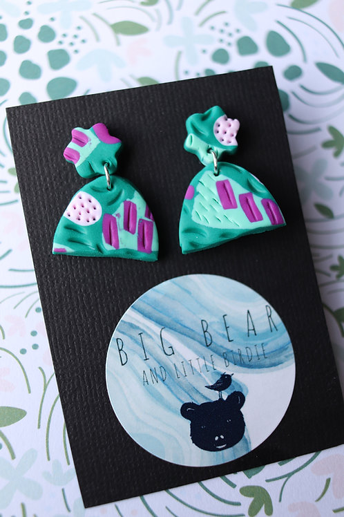 Mint & Purple Textured Dangles