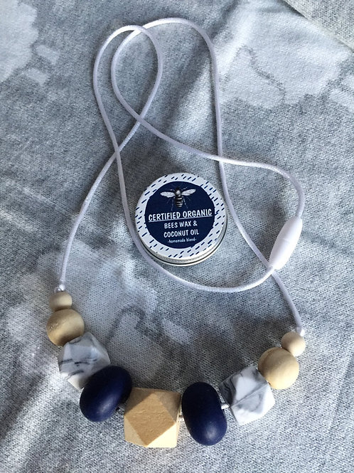 Navy Grey Teething Necklace and Balm Combo
