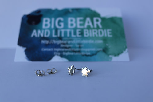 Sterling Silver Puzzle Piece Studs