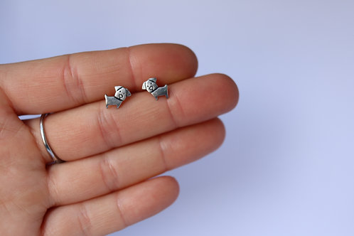 Sterling Silver Dog Studs