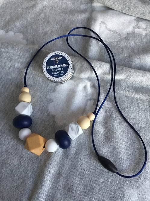 Navy White Teething Necklace and Balm Combo
