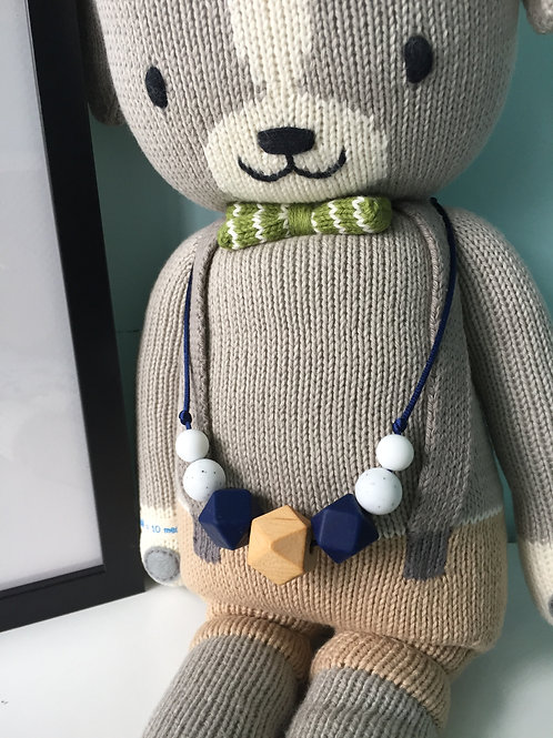 Navy Granite Speckle Wooden Teething Necklace