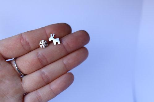 Sterling Silver Elk & Snowflake Studs