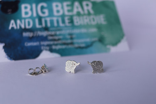Sterling Silver Elephant Studs