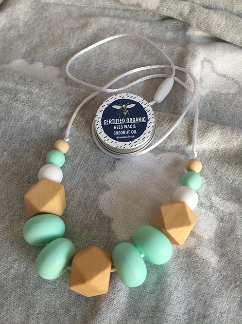 Mint Donut Teething Necklace and Balm Combo