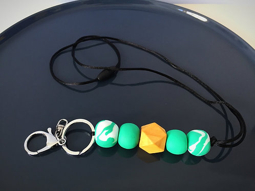 Jade White Swirl Wooden Hexagon Lanyard