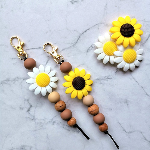 Sunflower Boho Key Ring