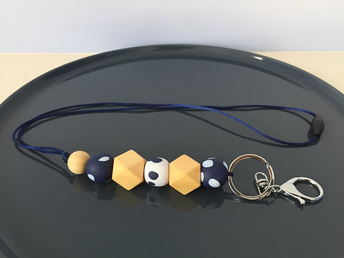 Navy White Spot Wooden Hexagon Lanyard
