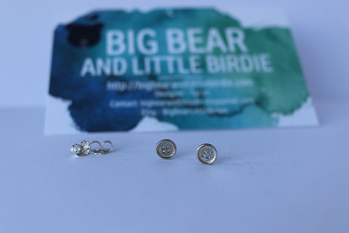 Sterling Silver Button Stud